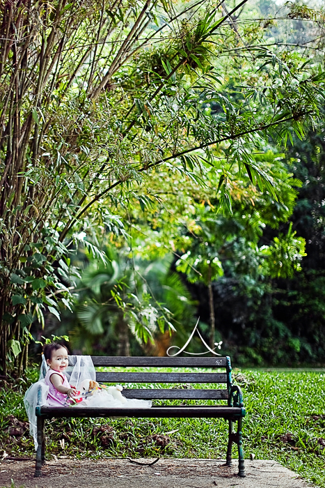 Look at how tiny she is next to those bamboo trees!