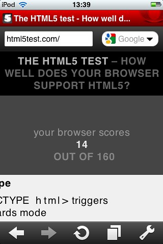 iPhone Opera Mini HTML5 Test