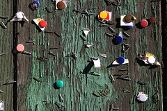 Tacky (joaobambu) Tags: wood urban green texture colors paint decay buttons object painted stock weathered tacky flaking staples tacks staple urbanismo gettygermanyq4