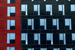 Don't think you're on the right road just because its a well-beaten path. (miuenski) Tags: blue windows red sky black lines buildings reflections patterns repetition dslr 75300 ab1 thechallengefactory onuc