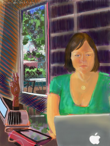 iPad Portrait of Janet Wozniak, Painted from Life Today by DNSF David Newman