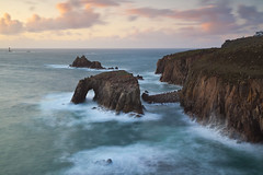 Lands End (antonyspencer) Tags: uk lighthouse seascape rock landscape long exposure cornwall arch view natural cliffs end lands longships superaplus aplusphoto