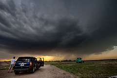 HDR Storm (ryanmcginnisphoto) Tags: sky usa cloud storm field car dark ominous space chase kansas copy hdr chasers supercell