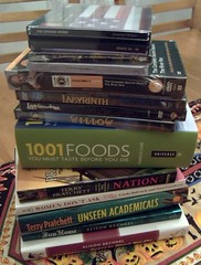 pile of books & other media