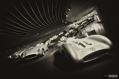 Silver Arrows - Mercedes-Benz Museum (rbpdesigner) Tags: bw building slr cars tourism car sport museum architecture race truck canon germany deutschland mercedes blackwhite europa europe noiretblanc stuttgart culture