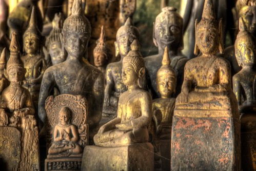 Golden Buddhas in Pak Ou Cave