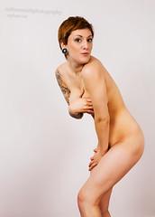 Bashful Alexandra (nathansmithphoto) Tags: portrait woman color girl tattoo studio nude model pretty edmonton arm underwear skin shy redhead alexandra covered alberta redhair bashful nathansmith