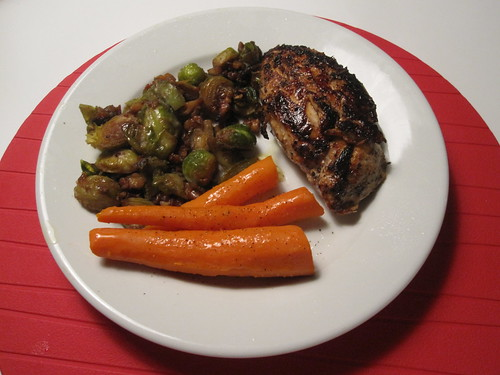 Lemon chicken, carrots, Brussel sprouts