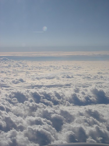 Clouds, aircraft, sunbeam