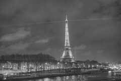Eiffel Tower By Night (IFM Photographic) Tags: blackandwhite bw paris france reflection monochrome seine canon is eiffeltower toureiffel 7eme 1855mm hdr pontdelalma gustaveeiffel f3556 almabridge 450d 7tharrondissment efs1855mmf3556is untitledgrayscale01