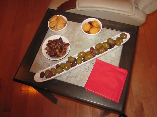 Olives, mom cheddar biscuits, Parmesan and lemon biscuits, roasted nuts