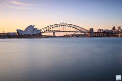 Sydney Icons at Sunset (David de Groot) Tags: longexposure bridge water canon harbour au sydney australia nsw newsouthwales operahouse harbourbridge canonef1740mmf4lusm sydneyharbour citytrip hoyand400 5dmkii