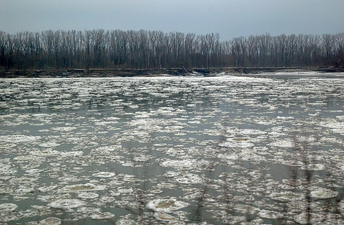 Ice floes on the Missouri River near Washington, Missouri, USA - view from Amtrak train
