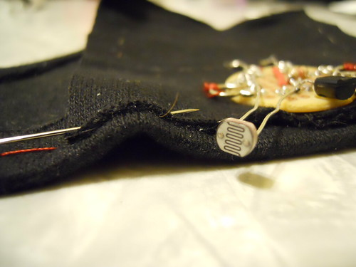 A close up of the circuitry work of the Light Up Dog Hoodie. (click for more info!)