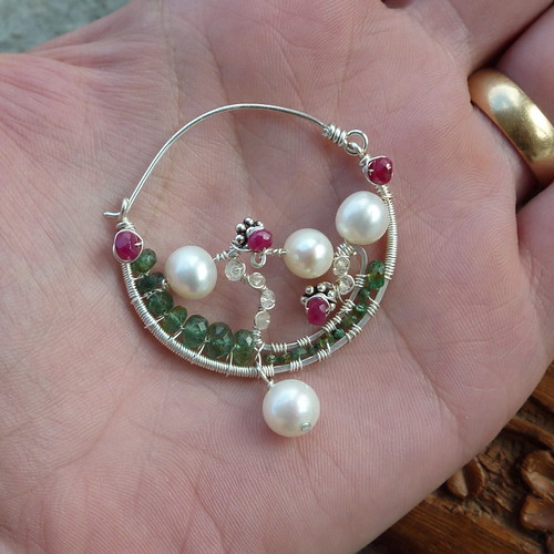 Ornate Nath/Nose Ring with Emeralds, Rubies, White Sapphires and Akoya Pearls
