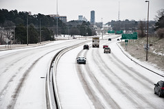 Driving in a winter wonderland (jgreghenderson) Tags: city travel winter white snow cars ice weather rock nikon greg traffic little january arkansas interstate henderson 630 d90 i630