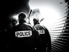 POLICE ON THEIR BACK (jean-fabien) Tags: urban bw white 3 black paris france art station contrast canon dark underground subway french lights back high raw noir photographie shot noiretblanc metro g corridor police walls lightning et blanc patrol murs brutal regard neons policemen urbain ilovephotography g7 contemporain patrouille actuel couloirs contemporaine metrolife blackwhitephotos jeanfabien sarkoland monochromeaward flickrunitedaward