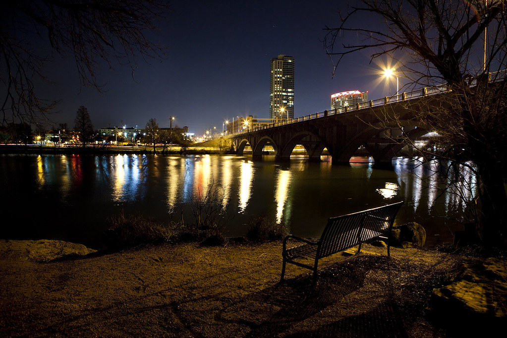 Park Bench At Night: Austin TX