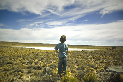 Boy at patagonian landscape