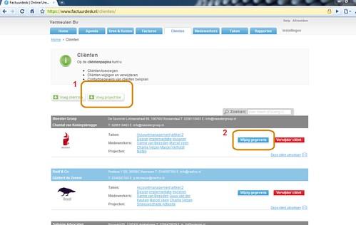 KLIK OM TE VERGROTEN: Fig. II - Projecten aanmaken (optie 1), bekijken of aanpassen (optie 2) op de Cliëntenpagina