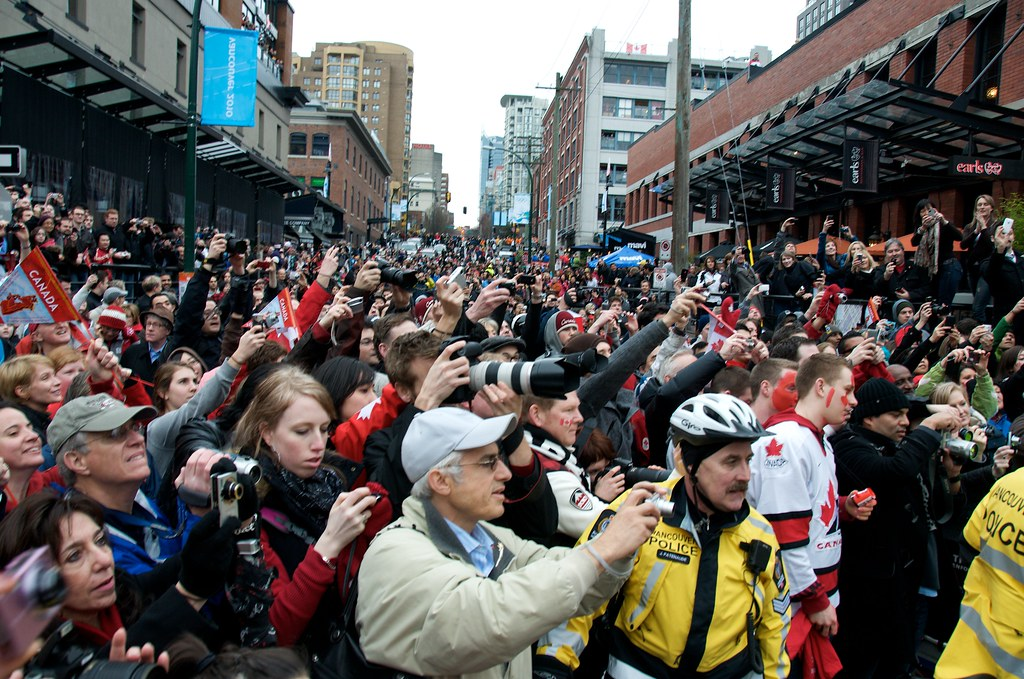 Crowd in Yaletown Following the Torch