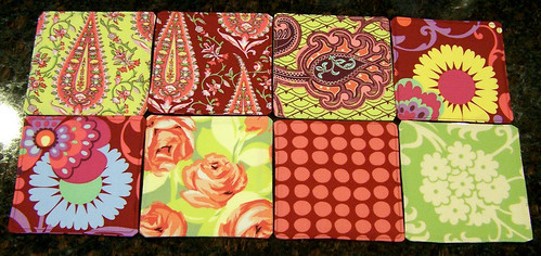 Fabric coasters, set of 8