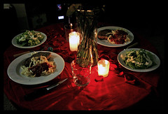 candlelit dinner (44/365) (Rebecca Sikes Bauer) Tags: flowers red roses love dinner table petals salad candles sweet valentine pasta homemade steak surprise vase noodles valentines romantic candlelight rosepetals candlelit sikes