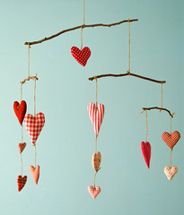 Heart Mobile (PatchworkPottery) Tags: blue red mobile hearts sticks stuffed handmade crafts fabric valentines redandblue zakka