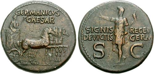 Germanicus. Died AD 19. Æ Dupondius (15.76 g, 7h). Rome mint. Struck under Gaius (Caligula), AD 37-41.