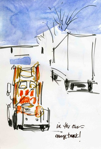 Orange truck sketched on the run!
