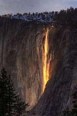 Horsetail Falls (andykee) Tags: california sunset orange lava waterfall falls yosemite elcapitain horsetail horsetailfalls firefall photocontesttnc10