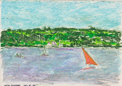 Studies Little Traverse Bay 83 (Martin Beek) Tags: travel usa colour art texture america idea sketch artwork drawing michigan pastel vivid drawings sketchbook line study americana wax crayon studies oilpastel cheboygan 19834 martinbeek thegreatmidwest thirtyyearsofsketchbooks americantraveldrawings martinbeeksdrawings martinbeekoilpastel oilpastels19802011