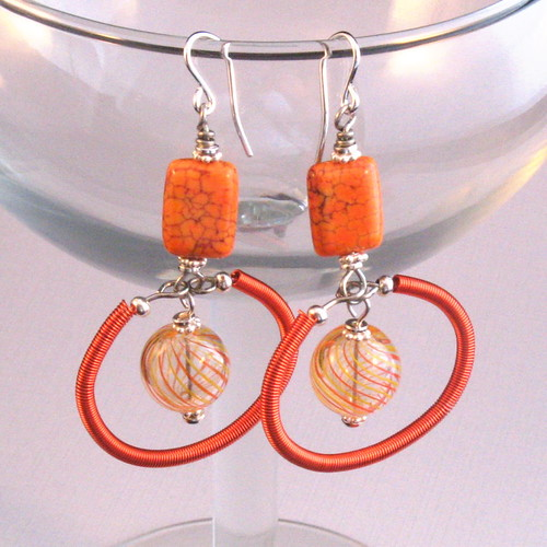 Orange Dangley Earring