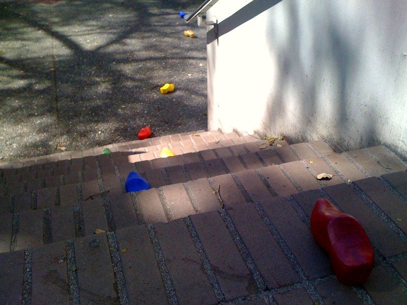 A trail of rainbow clogs