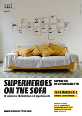 SUPERHEROES ON THE SOFA (juliette la bte) Tags: yellow illustration march artwork flat room exhibition sofa bologna heroes superheroes apartament bookfair appartamento supereroi zizcollective illustratiors