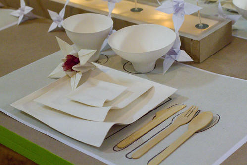 recycled and re-purposed table setting