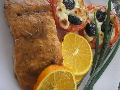 orange-glazed salmon and stuffed tomatoes