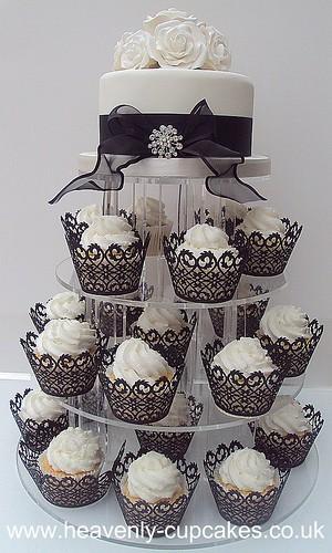 Black & White Wedding Cupcake Tower- Nottingham