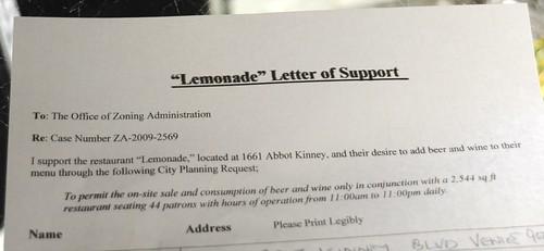 Lemonade Abbot Kinney Beer and Wine
