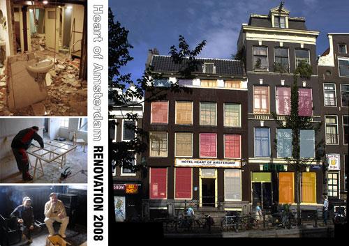מלון לצעירים ברובע החלונות האדומים, אמסטרדם, בבניין בן 400 בעל מגבלות והנחיות לשימור. בפרויקט ניתן חופש עיצובי נרחב