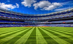 Yankee Stadium - Dead Center (Cory Disbrow) Tags: nyc newyork photoshop canon lab cathedral bronx canonef2470mmf28lusm hdr highdynamicrange yankeestadium 2010 mlb beautifulday monumentpark cs4 majorleaguebaseball centerfield photomatix tonemapped canoneos5dmarkii april2010 corydisbrow therangersdidnthelptheirowncausewhatwiththesloppyfieldingandnohitsafterthe3rdinning kickedtherangersrears