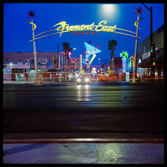 Fremont East (Bright Lights, Vegas Nights) Tags: vegas 120 6x6 tlr film night square lasvegas lighttrails twinlensreflex traffictrails yashicad downtownlasvegas canoscan8800f ektar100