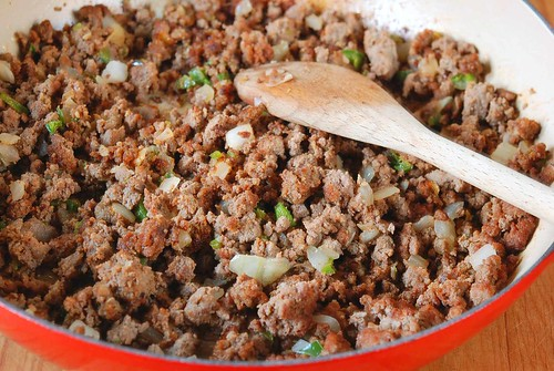 browning ground beef for adding to refried beans