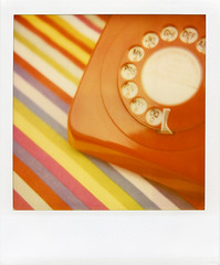 . (Rebecca...) Tags: uk red polaroid 1971 phone stripes telephone dial ring myhouse expired bakelite gpo polaroidsx70 stillworking 746 expired2004 600filmwithblendfilter