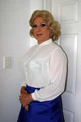 Sheer White Blouse (Christine Fantasy) Tags: feminine silk makeup christine blouse fantasy blonde transvestite crossdresser transsexual sheer shemale