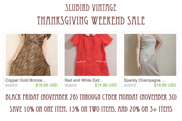 thanksgiving sale at slubird vintage