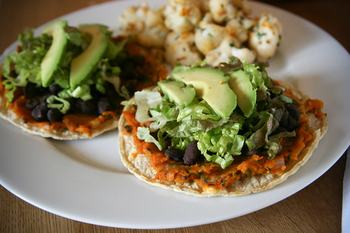 Pumpkin and black bean tostadas