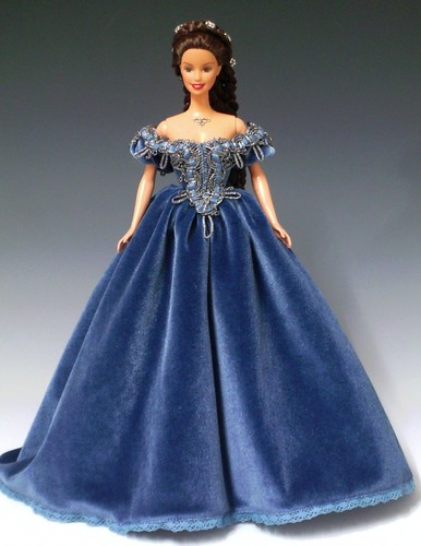 Sissi Barbie in blue velvet ballgown by Bavarian Dolls.