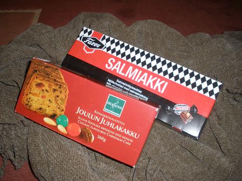 Christmas cake & salmiakki chocs for M