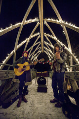 music on a cold bridge